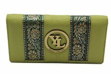 Women's Clutch Purse Wallet Genuine Leather Embroidery Lace Black Red Green Lime
