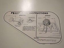 1970 1971 AMERICAN MOTORS AMC JAVELIN AMX JACK INSTRUCTIONS DECAL FOR REG WHEEL