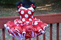 Minnie Mouse Tutu dress Classic Red White costume Ear bow girls