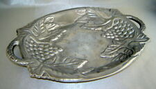 CYPRESS HOME Handled Oval Aluminum Metal Grapes & Vines Serving Platter Tray