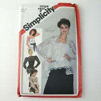 Vtg 80s Simplicity Pattern 5324 Size 16 Misses Lace Blouses Jacket & Camisole