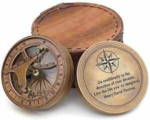 Vintage Brass Compass with Leather Case/Henry David Thoreau Directional Magnetic