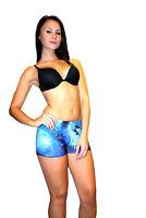 femme sexy bleu UNIVERS GALAXIE Cosmos imprimé été MINI SHORT Rave