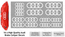 16 x Audi Brake Caliper Decal Permanent Vinyl Stickers. Sport Rings - White