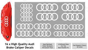16 x Audi Brake Caliper Decal Permanent Vinyl Stickers. Sport Rings - White