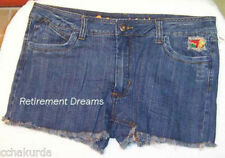 DOLLHOUSE JUNIORS 17 Denim Blue Jeans Shorts NEW Flower Destroyed Frayed