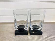 Set Of (2) DiSaronno Black Square Base Goblet Glasses Coctail Bar Juice