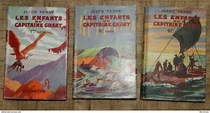 J VERNE Les enfants du capitaine Grant 3 tomes Hachette 1946 bibliothèque verte