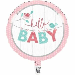 """Hello Baby Girl Pink Cute Baby Shower Party Decoration 18"""" Round Mylar Balloon"""