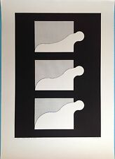 JUAN MARTINEZ Rare Grande Sérigraphie 100cm Signée Originale de 1973 op art