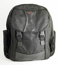 TUMI Black Leather & Canvas Laptop Backpack - Carry On Travel Bag - 18 x 17.5