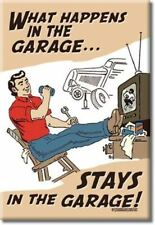"What Happens in the Garage... STAYS in the Garage  Miniature Sign Magnet 2""x3"""