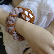 HANDMADE STATEMENT CROCHET BRACELET MIXED MATERIALS GIFT BROWNS  GRAY AND WHITE