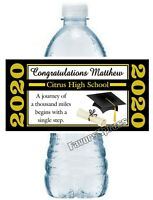 Black and Gold GRADUATION PARTY FAVORS WATER BOTTLE LABELS