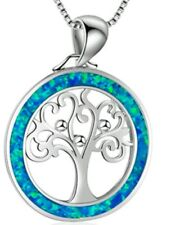 Silver Tree of Life Crystal Pendant Necklace Chain Christmas birthday 891