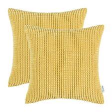 "2Pcs Yellow Gold Throw Pillows Covers Shells Corn Soft Corduroy Striped 18 x 18"""
