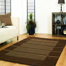 Small Modern 10-11mm Thick Contemporary Stripe Design Brown Visiona 80x150cm Rug