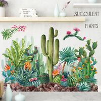 Green Tropical Cactus Plant PVC Vinyl Removable Nursery Mural Decal Wall Sticker