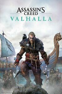 ASSASSINS CREED VALHALLA LARGE POSTER 90X60CM - OFFICIAL GIFT, VIDEO GAME, XMAS