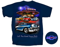 Vintage Chevy Drive In Navy Back Graphic Men's T-shirt L Large Bel Air