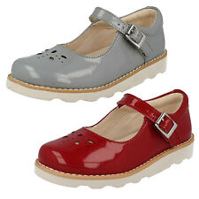 Girls Clarks Shoes Label Crown Posy Red Patent UK 8 Infant F