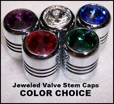 JEWELED Chrome VALVE STEM COVERS. Deluxe! Matched PAIR. Swarovski Crystals. NEW