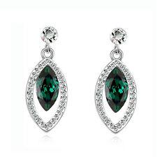 Elegant Diamante Emerald Green & Silver Eye Drop Dangle Earrings Bridal E874