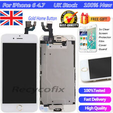 For iPhone 6 4.7'' White Screen Replacement Touch Digitizer LCD Gold Button