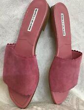manolo blahnik Shoes Pink Flat Suede Slide Nwt $595 Size 40