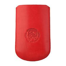 DIESEL X01038 Universal Slim Sleeve Handytasche Hülle Cover Leder, Rot 81x132mm