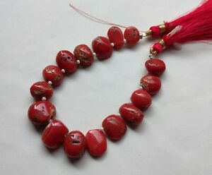 """100% Natural Italian Coral Briolettes, Red Coral Beads 6"""" Inches Strand"""