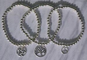 HANDMADE SILVER PLATED STACKING BEAD BRACELET PENTAGRAM TREE OF LIFE PEACE (094)
