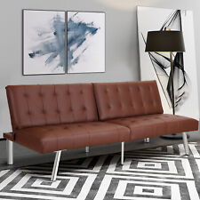 Brown Leather Sofa Bed In Futons, Frames & Covers for sale | eBay