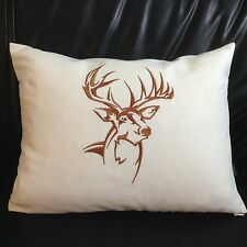 """Northwoods Silhouette Buck Embroidery PIllow Cushion Cover 100% cotton 12""""x 16"""""""
