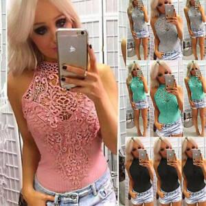 New Ladies Lace Plain Leotard Vest T-Shirt Top Casual Womens Sleeveless Bodysuit