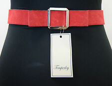 Temperley London Sample Red Suede Size 8 Belt. Length approximately 68cm