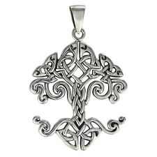 Sterling Silver Celtic Knot Tree of Life Yggdrasil Pendant Knotwork Jewelry