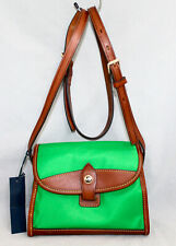 NWT $119 DOONEY & BOURKE Wayfarer Flap Crossbody Green Nylon Tan Leather Trim