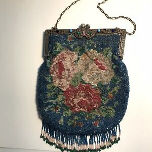 """Victorian Beaded Evening Purse - Blue with Flowers, 8"""" by 7"""", Excellent Cond."""