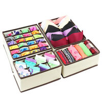 4PCS Set Foldable Organizer Drawer Storage Box Case For Bra Ties Underwear Socks