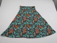 LuLaRoe Womens Brown Green Orange Floral A Line Azure Skirt Sz Small Midi Slinky