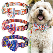 Cute Bowtie Leather Dog Collar with Fashion Pattern for Small Medium Large Dogs