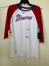NEW W TAGS-Women's Atlanta Braves 3/4 Sleeve Nike Cooperstown Shirt XL -MSRP $40