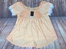 BNWT Women's NEXT Orange Lace Short Sleeve Elastic Neck Shirred Top Blouse 14 42