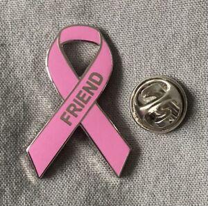 Breast Cancer 'Friend' pink awareness ribbon enamel pin badge / brooch. Charity