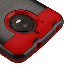 "FOR MOTOROLA MOTO E4 ( 5.0 "" ) BLACK RED BRUSHED IMPACT COVER CASE + S"