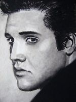 Watercolor Painting Elvis Presley Portrait Face Music Song ACEO Art