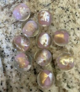 10 PINK GOLD SILVER FOIL ROUND  12mm Lampwork glass beads -  DIY jewelry