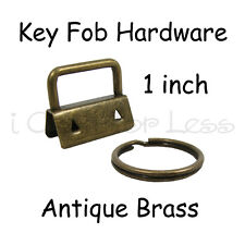 50 Key Fob Hardware w/ Key Rings Sets - 1 Inch (25 mm) Antique Brass + Instruc.