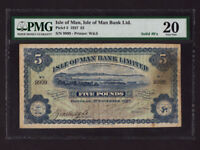 Isle of Man:P-5,5 Pounds,1927 * Douglas Harbor * Solid number 9999 * PMG VF 20 *